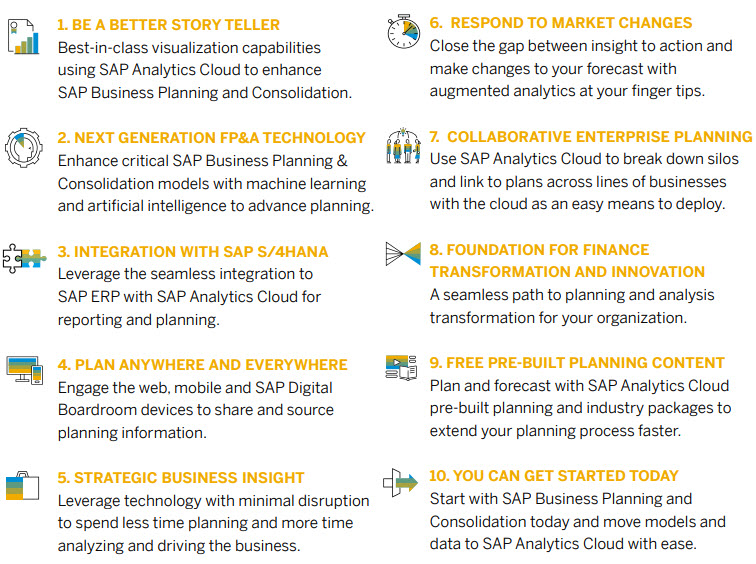 Top 10 Reasons to extend SAP Business Planning & Consolidation with SAP Analytics Cloud